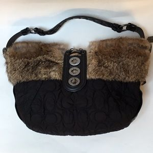 """Coach quilted """"C"""" bag with rabbit fur trim"""